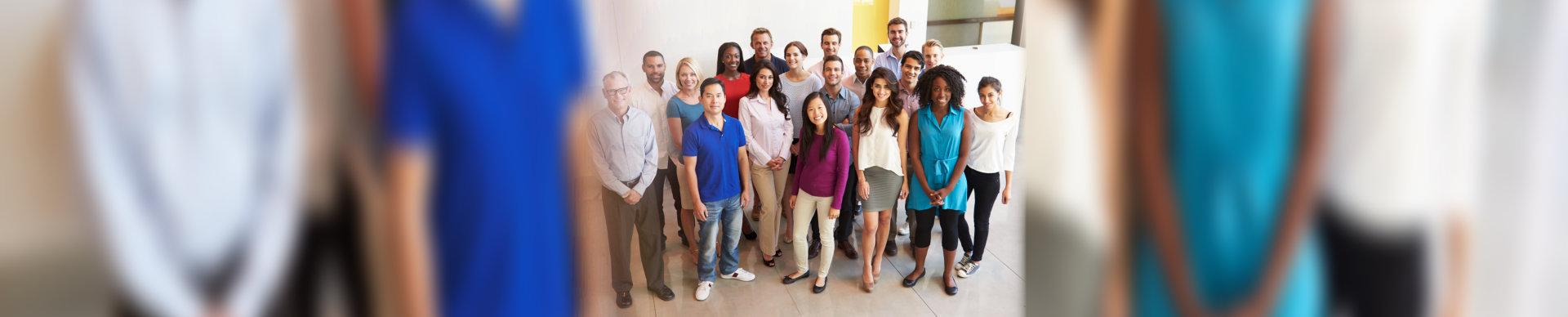 multi-cultural office staff