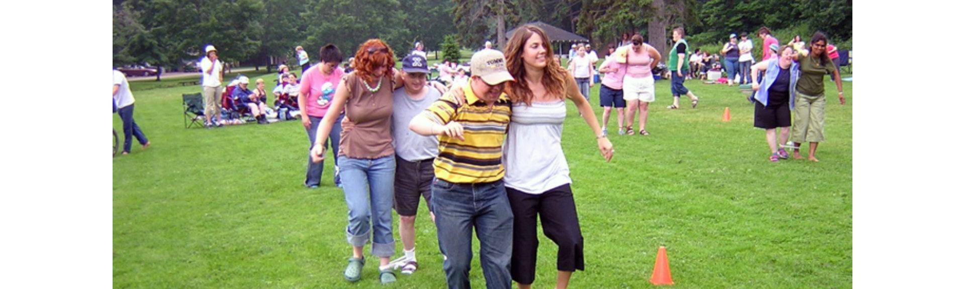 Group of adults having fun